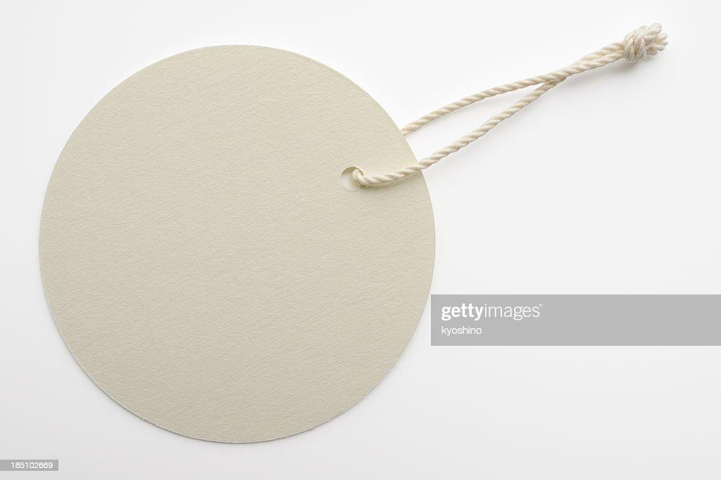 Isolated shot of blank white round tag on white background