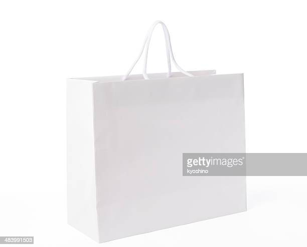 Isolated shot of blank white shopping bag on white background