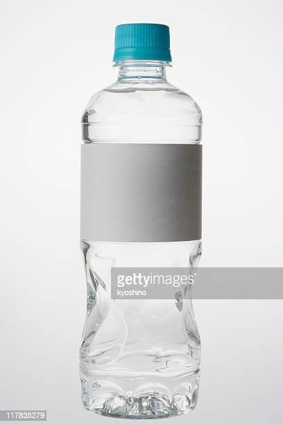Isolated shot of bottle with blank label on white background
