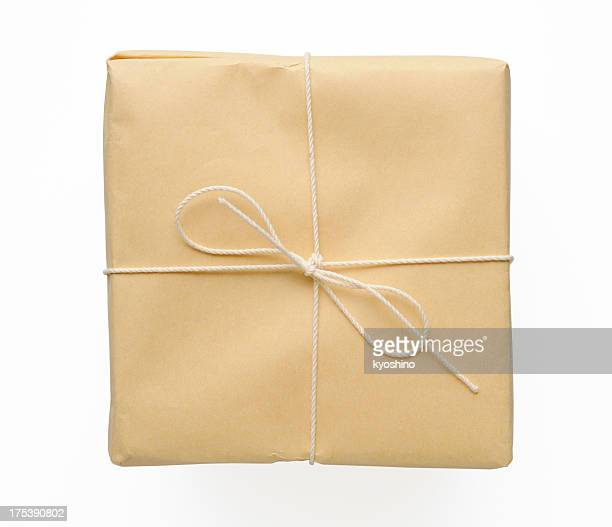 Isolated shot of brown package on white background