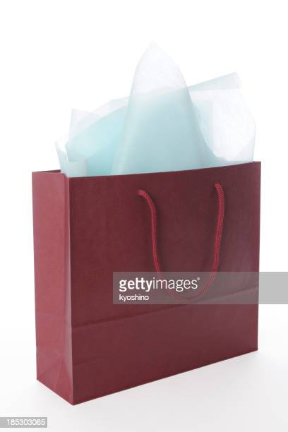 Isolated shot of brown shopping bag on white background