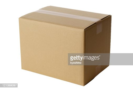Isolated shot of closed blank cardboard box on white background