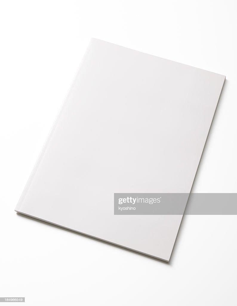 Isolated shot of closed blank magazine on white background