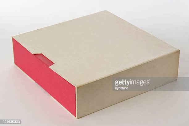 Isolated shot of closed old blank box on white background