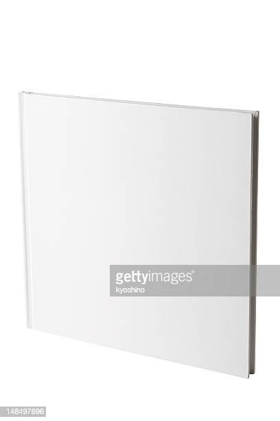 Isolated shot of closed square blank book on white background