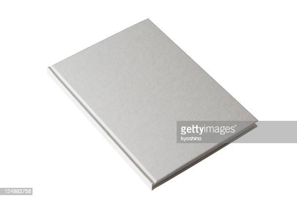 Isolated shot of closed white blank book on white background