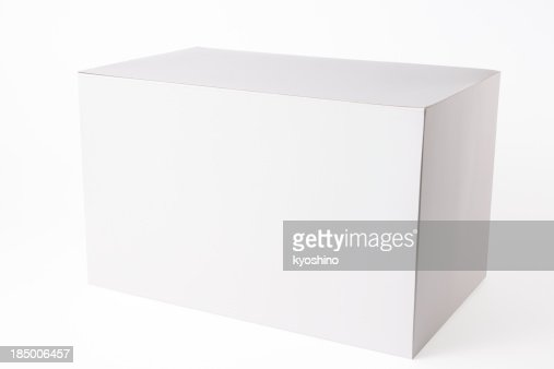 Isolated shot of closed white blank box on white background