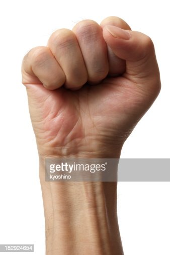 Isolated shot of fist against white background