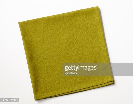 Isolated shot of folded green napkin on white background