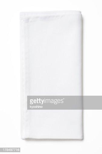 Isolated shot of folded white napkin on white background