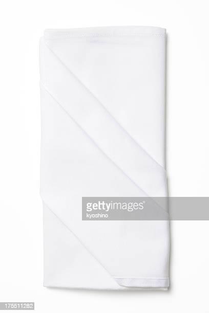 De plié isolé plan serviette blanche sur fond blanc