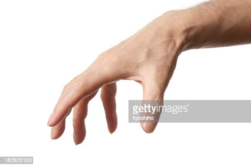 Isolated shot of grasp hand gesture against white background