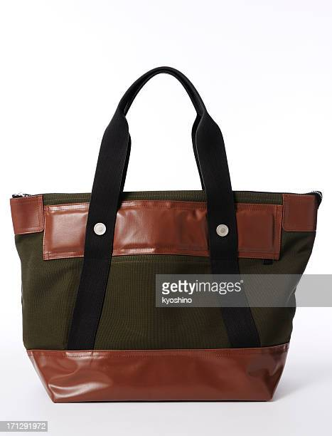 Isolated shot of green canvas bag on white background