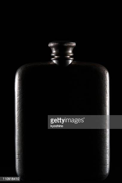 Isolated shot of Hip-Flask on black background