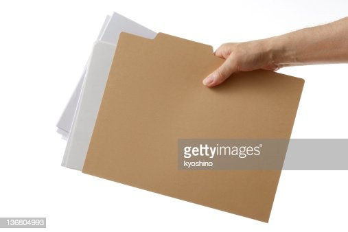 Isolated shot of holding a file folder against white background