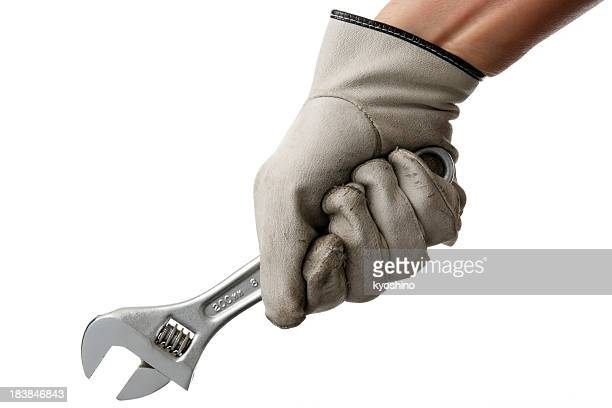 Isolated shot of holding a wrench on white background