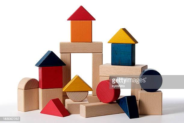 Isolated shot of home building wood blocks on white background