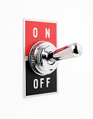 Isolated shot of ON OFF switch on white background