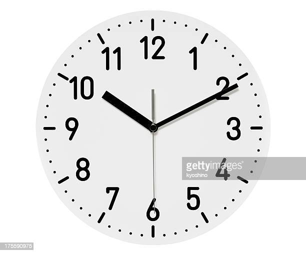 Isolated shot of only clock face on white background