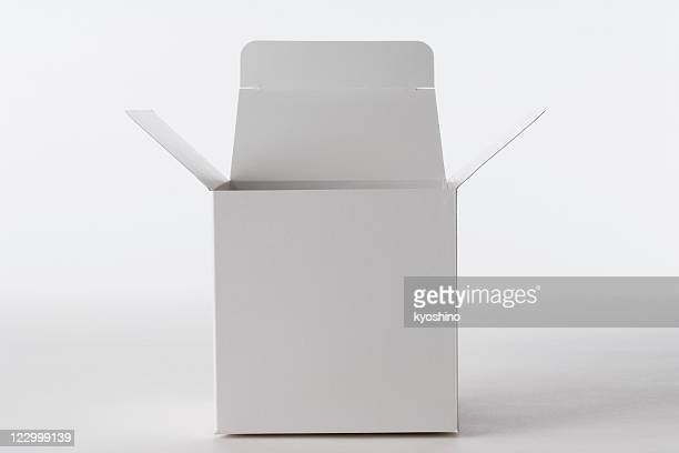 Isolated shot of opened blank cube box on white background