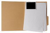 Isolated shot of opened file folder on white background