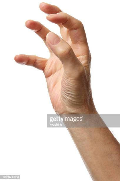 Isolated shot of opened hand against a white background