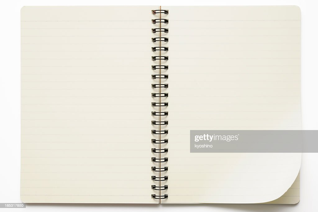 Isolated shot of opened spiral notebook on white background