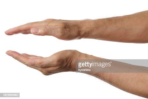 Toma de las palmas de las manos aisladas sobre fondo blanco señal