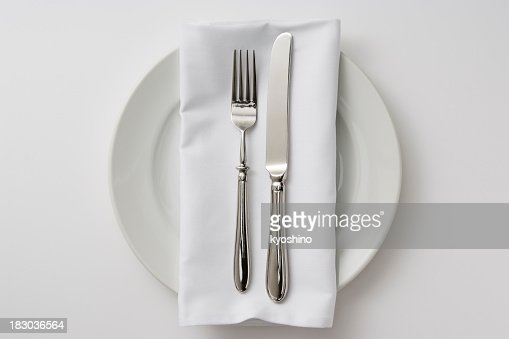Isolated shot of plate and cutlery on white background