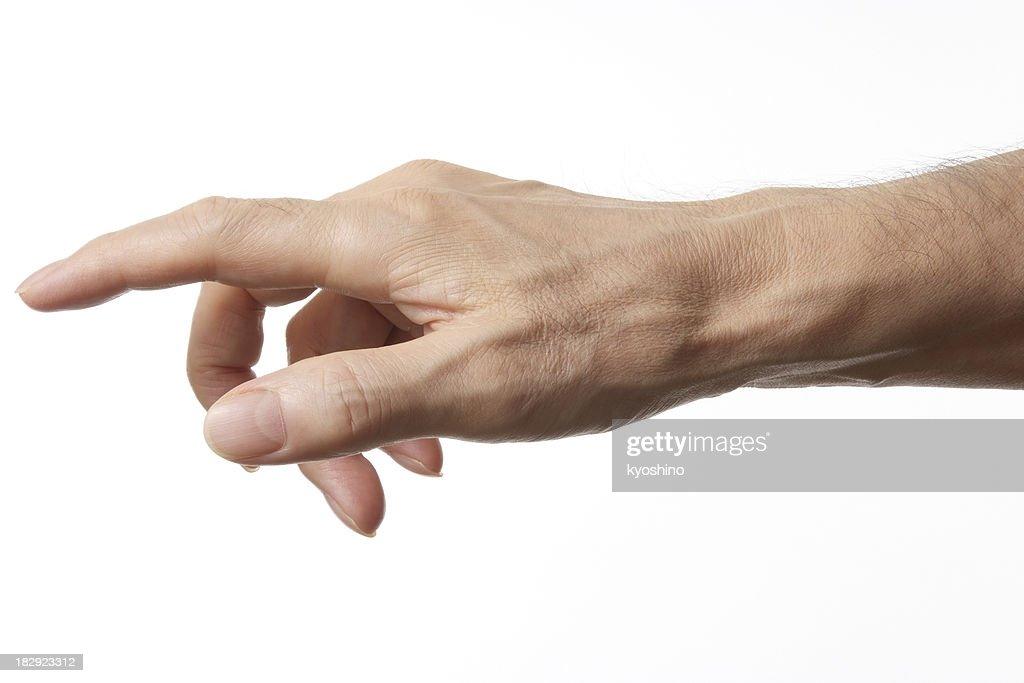Plan de doigt isolé sur fond blanc : Photo