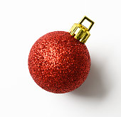 Close-up of red Christmas ball, isolated on white with clipping path.