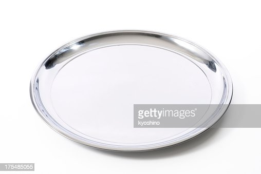 Isolated shot of silver tray on white background