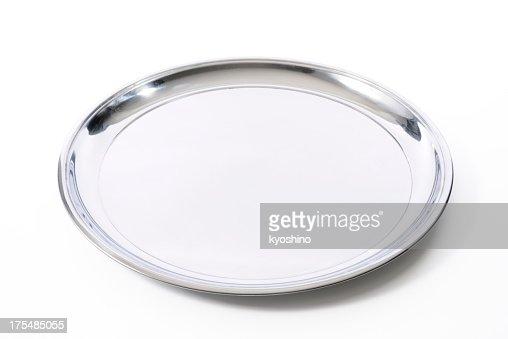 Isolato colpo di vassoio d'argento su sfondo bianco
