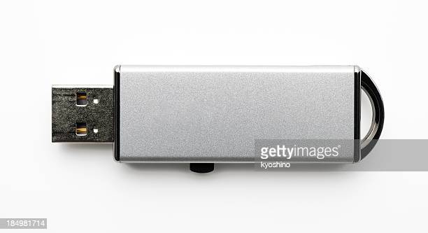 Isolated shot of silver USB Flash Drive on white background