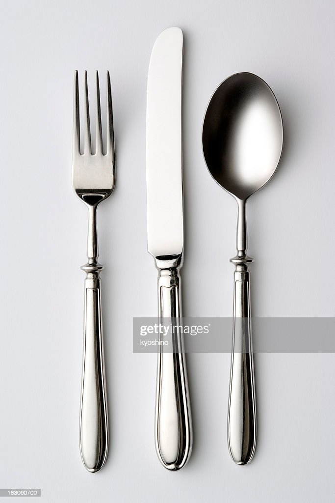 Isolated shot of silverware on white background