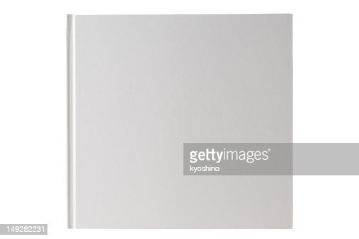 Isolated shot of square white blank book on white background