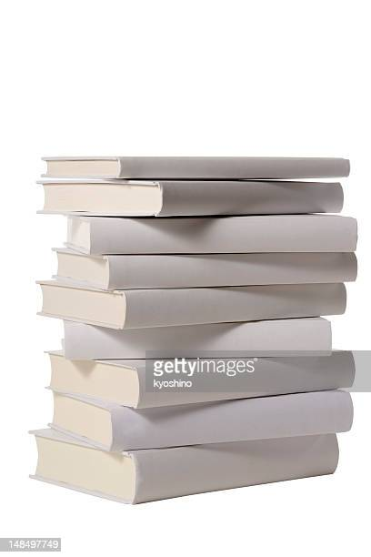 Isolated shot of stacked blank books on white background