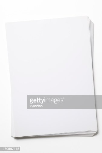 Isolated shot of stacked blank paper on white background