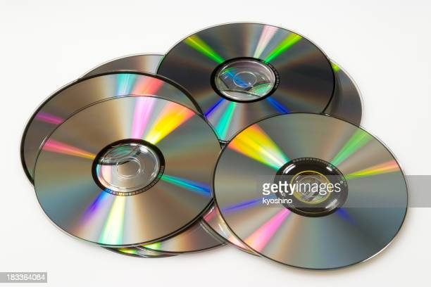 Isolated shot of stacked compact discs on white background
