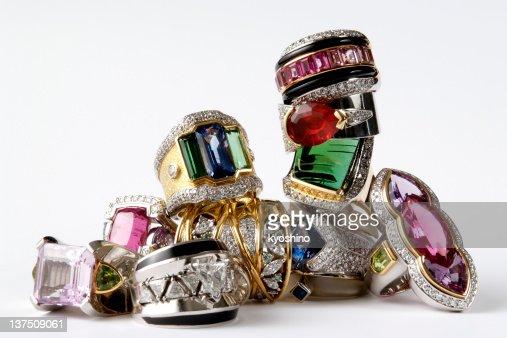 Isolated shot of stacked luxury ring on white background