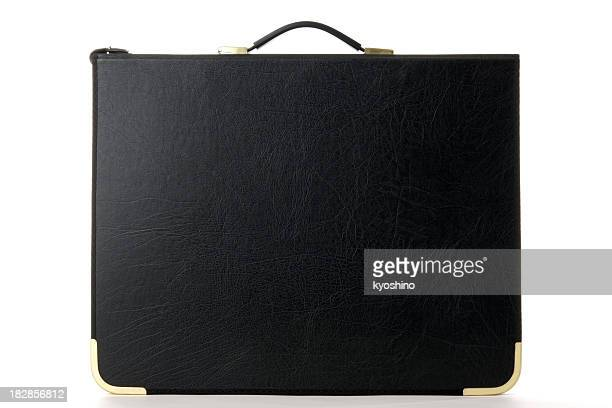 Isolated shot of standing a black portfolio on white background