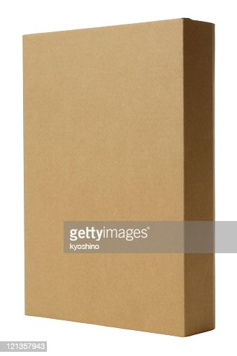 Isolated shot of standing blank cardboard box on white background