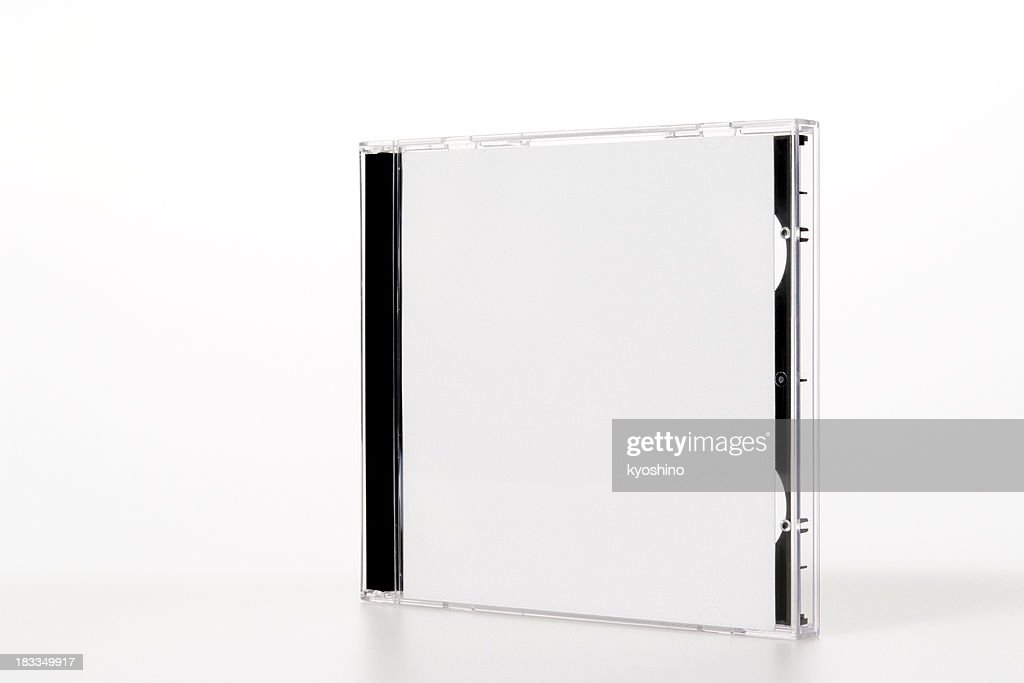 Isolated shot of standing plastic CD case on white background