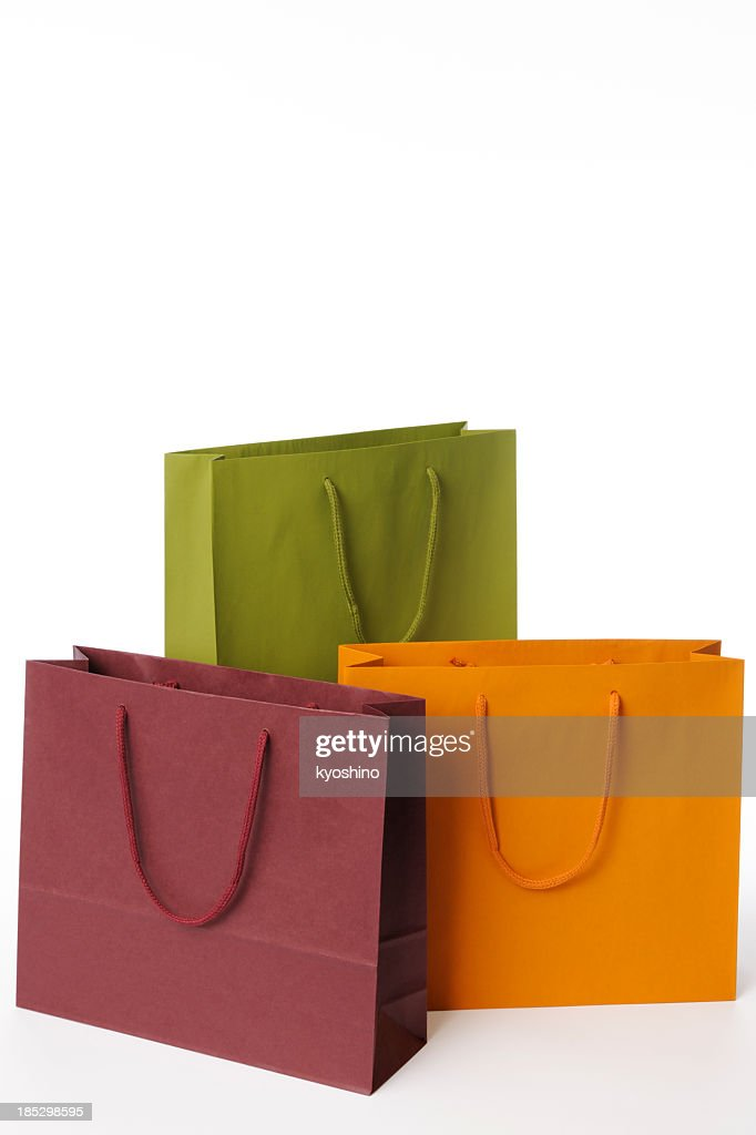 Isolated shot of three shopping bags on white background