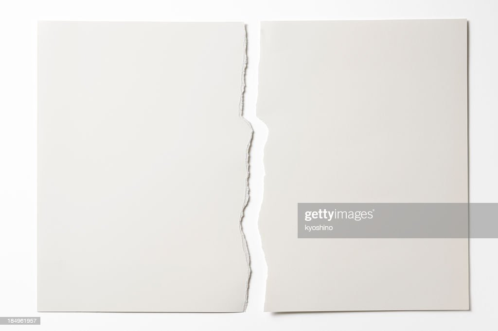 Isolated shot of torn white paper on white background
