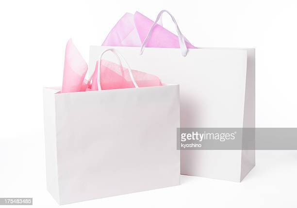 Isolated shot of two blank shopping bags on white background