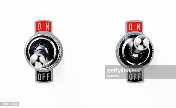 Isolated shot of two toggle switch on white background