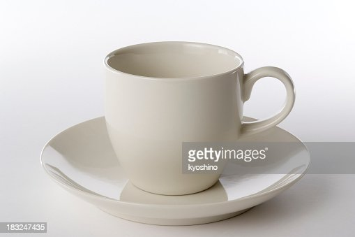Isolated shot of white coffee cup on white background