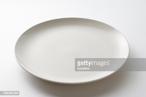 Isolated shot of white empty plate on white background