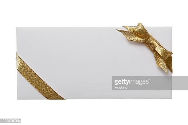 Isolated shot of white envelope with decoration on white background